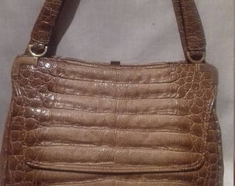 1960s Moc Croc Handbag / Double handled / Fully lined.