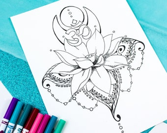Lotus Flower Adult Coloring Page Digital Download / Lotus Flower Tattoo Design / Kids Coloring Page / Printable Coloring Page