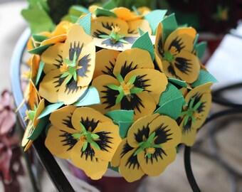 Paper Pansies, paper flowers, allergy free flowers, rustic wedding, paper flower favors, custom paper flowers, flower keepsakes, paper pansy