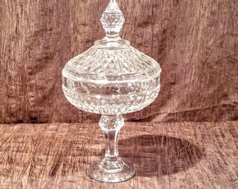 Vintage cut glass tall candy dish with lid, free shipping