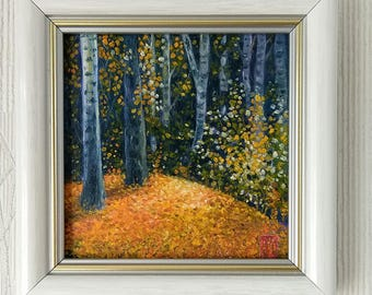 "Oil painting miniature. Original Oil Painting, Miniature Painting, 4"" x 4"", framed Landscape Painting. ""Autumn Birches"""