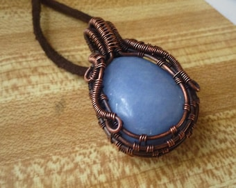 Wire Wrapped Angelite in Oxidized Copper