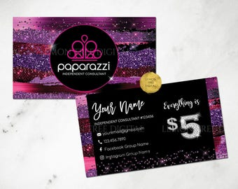 Paparazzi Business Cards, Free Personalized, Paparazzi Jewelry Consultant Card,Glitter, Purple, Black, For Vistaprint or Home Printing, PP02