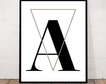 Letter A Printable Poster, Scandinavian Letter Print, Scandinavian Poster, Letter A Print, Letter A Wall Decor