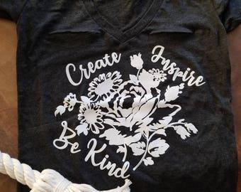 Graphic tee, T-shirt, v-neck shirt, top, tee