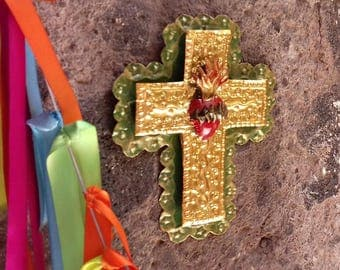 Metal decorative cross with red heart wall decor vintage look hand made gold green red