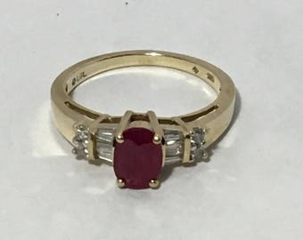 ruby gold ring with cz diamonds vintage