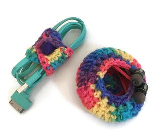Handmade Cord Keepers, Set of Two, Phone Accessories, Cord Organizers, Earbud Holder, Crochet Cord Keeper, Cord Organizer Set, Under 10 Gift