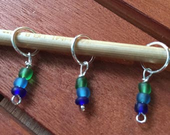 Nye Beach Sea Glass Style Blue and Green Stitch Markers (US size 10.5 needles or smaller)