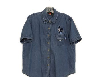 Denim Mickey Mouse Shirt - Vintage (1990s) - Size L