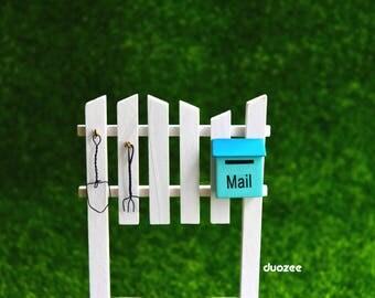 Miniature Enchanted Fairy Garden House Yard Fence with Mailbox, Fairy Garden Fence, Fairy House Fence