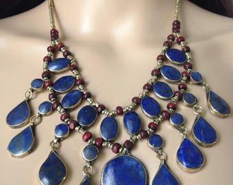 Gorgeous Lapis lazuli necklace - tibetan silver and lapis lazuli inlay - ethnic tribal necklace