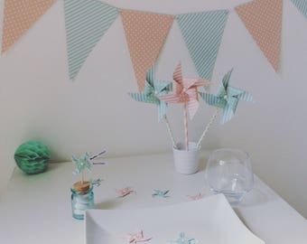 Pack deco windmills pink & green water for 20 people