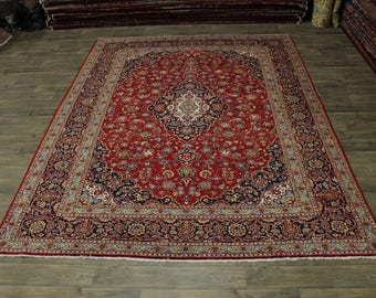 great shape handmade s antique kashan persian rug oriental area carpet sale 9x12