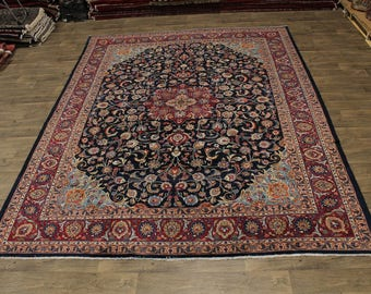Exceptional Handmade S Antique Navy Mashad Persian Rug Oriental Area Carpet 10X12