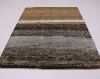 Fine Strips Handmade Vintage Tribal Gabbeh Persian Rug Oriental Area Carpet 6X8