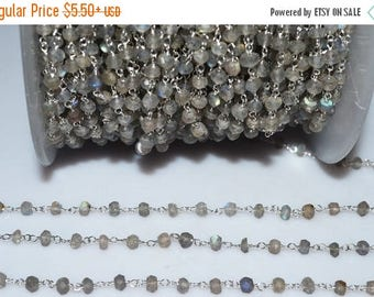 50% OFF Beautiful Labradorite Rosary Beaded Chain-Labradorite Silver Wire Wrapped Rosary Beaded Chain , 3.50-4 mm  RB5199