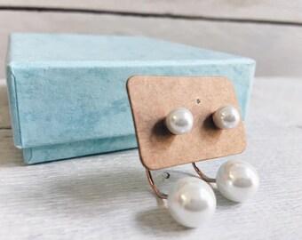 Ear Jacket Pearl Earrings in White | Minimalist Ear Studs Rose Gold Plated