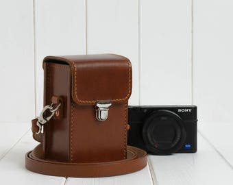 Leather Camera Case for Sony RX100, Vintage Camera Case, Leather Compact Camera Case, Handmade Camera Case, with Leather shoulder Strap