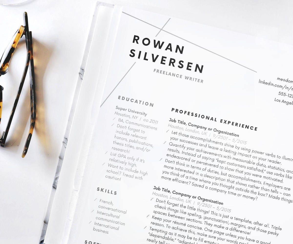 Resume Template Modern Resume Resume for Word CV Template – Concise Resume Template