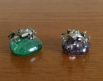 Vintage Miniature Pewter Frog and Toad on Colored Glass Stones