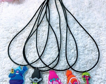 10 Pcs Trolls  Charms Silicone Necklace Party Favors