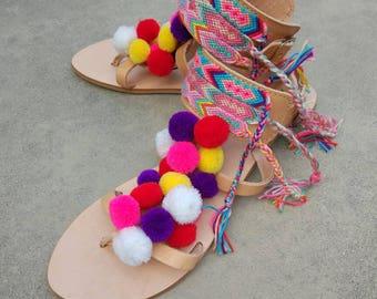 Gladiator Sandals, Greek Leather Sandals, Pom Pom Sandals, Strappy Sandals