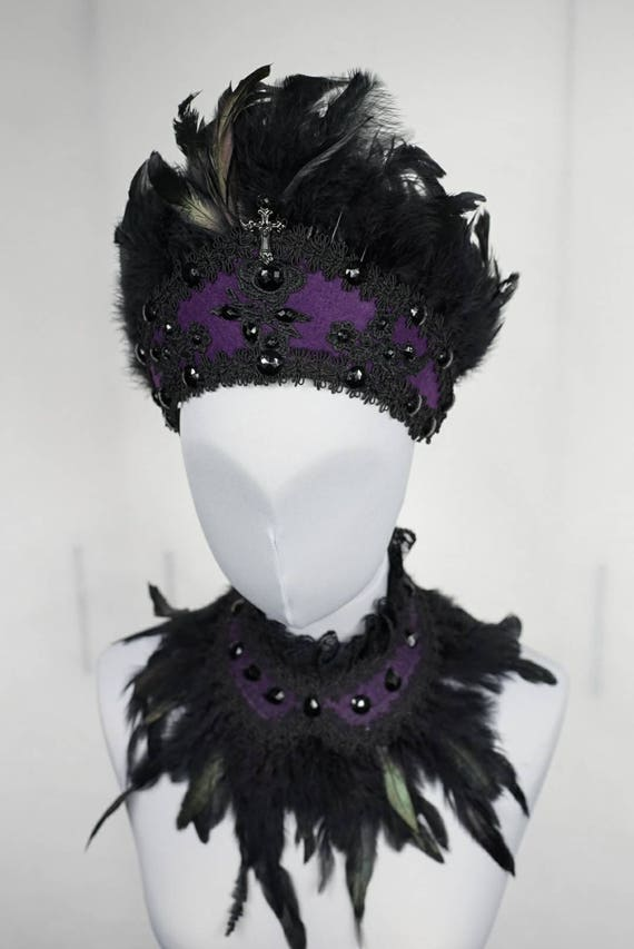 Purple gothic lady kokoshnik with matching collar, SET of 2 pieces, collar and headpiece set in black-purple