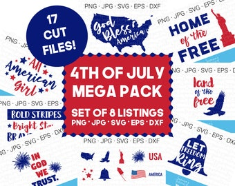 4th of July SVG, July 4th SVG, America SVG, Patriotic Svg, Svg Bundle, Cut Files, Svg Files, Cricut Files, Cutting Files, Svg Designs