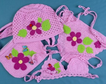 Crocheted Bikini - Bonnet - Handbag for little girls swimsuit children Baby crochet swimsuit swimwear Crochet baby bikini swimsuit beachwear