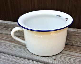 Chamber Pot Enamelware Personal Receptacle. Mid Century Enamelware Country Decor Flower Pot Toy Storage Pot Bedside Chamber Pot