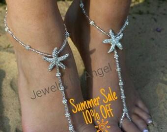Rhinestone Starfish Foot Jewelry Wedding Starfish Barefoot Sandal Soleless Shoes  Bridesmaid Gift Starfish Jewelry Flower Girl