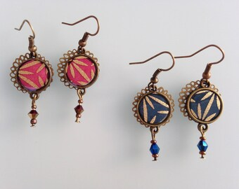 Bronze earrings with small cabochons and lace.