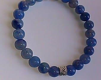 Denim Blue Adventurine Gemstone Stretch Bracelet