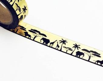 Gold Foil Safari Wild Animals Washi Tape