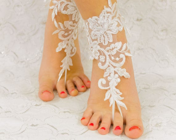 Wedding shoes lace, beach wedding barefoot sandals, wedding lace shoes, bridesmade gift, beach shoes 10