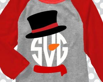 Snowman monogram SVG, Christmas SVG, Snowman svg, Snowman shirt, christmas monogram svg, DXF, Christmas monogram sets,  iron on, digital