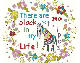 Funny cross stitch pattern  zebra, Flowers wreath cross stitch pattern, No black stripes in my life! Quote cross stitch pattren