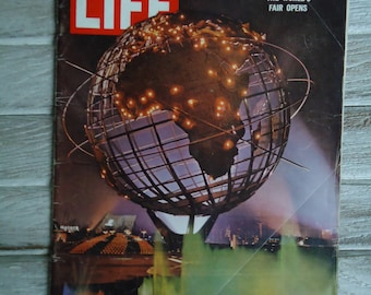 The Worlds Fair Life Magazine - Vintage Life Magazine 1964 - Vintage advertising - The Worlds Fair - Vintage Globe - Magazine ads - Vintage