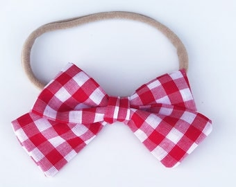Red and white buffalo check tie bow