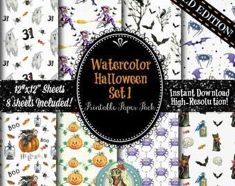 HALLOWEEN DIGITAL PAPER, Digital Paper Watercolor, Digital Paper Commercial Use, Digital Paper Pack, Instant Download, Scrapbook Paper, Wate