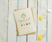 Planting father's Day card, card to plant my dad, father son, father daughter, salad, wild flowers