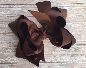 Double stacked hair bows, double layer hair bows, brown double stacked hair bows, girls hair bows, 5 inch hair bows,brown hair bows