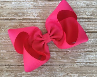 Pink Boutique hair bow, hair bows, solid color hair bows, large hair bows, hot pink hair bows, pink hair bows, boutique bows, 6""