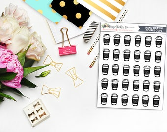 Hand drawn Coffee Cup Planner Stickers | for use with Erin Condren Lifeplanner™, Filofax, Personal, A5, Happy Planner