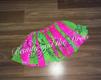Bandana tutu, watermelon tutu, pink and green tutu, summer tutu, country style tutu