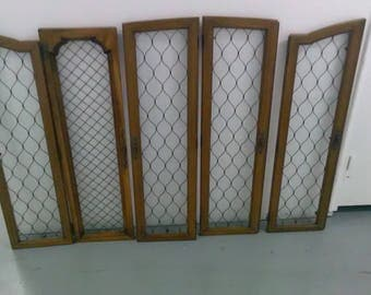High Quality Antique Wire Mesh Glass Oak Cabinet Doors Large Gothic Industrial Salvage ****1930u0027s Part 28