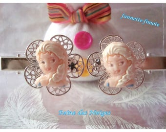 "Pair hair clips/hair clips flower child filigree Silver ""Of the snow Queen"" Elsa polymer clay - hand made"