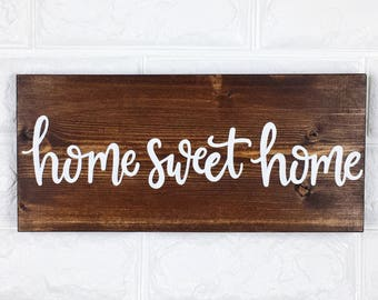 Home Sweet Home | Wood Sign | Wall Decor | Wall Sign | Handlettered