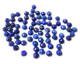 25 pcs Lot 4mm Blue Lapis Lazuli Round Rose Cut gemstone